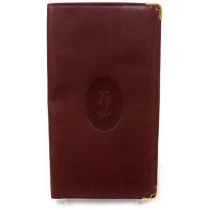 Auth Cartier Long Wallet Bordeaux #4857C41